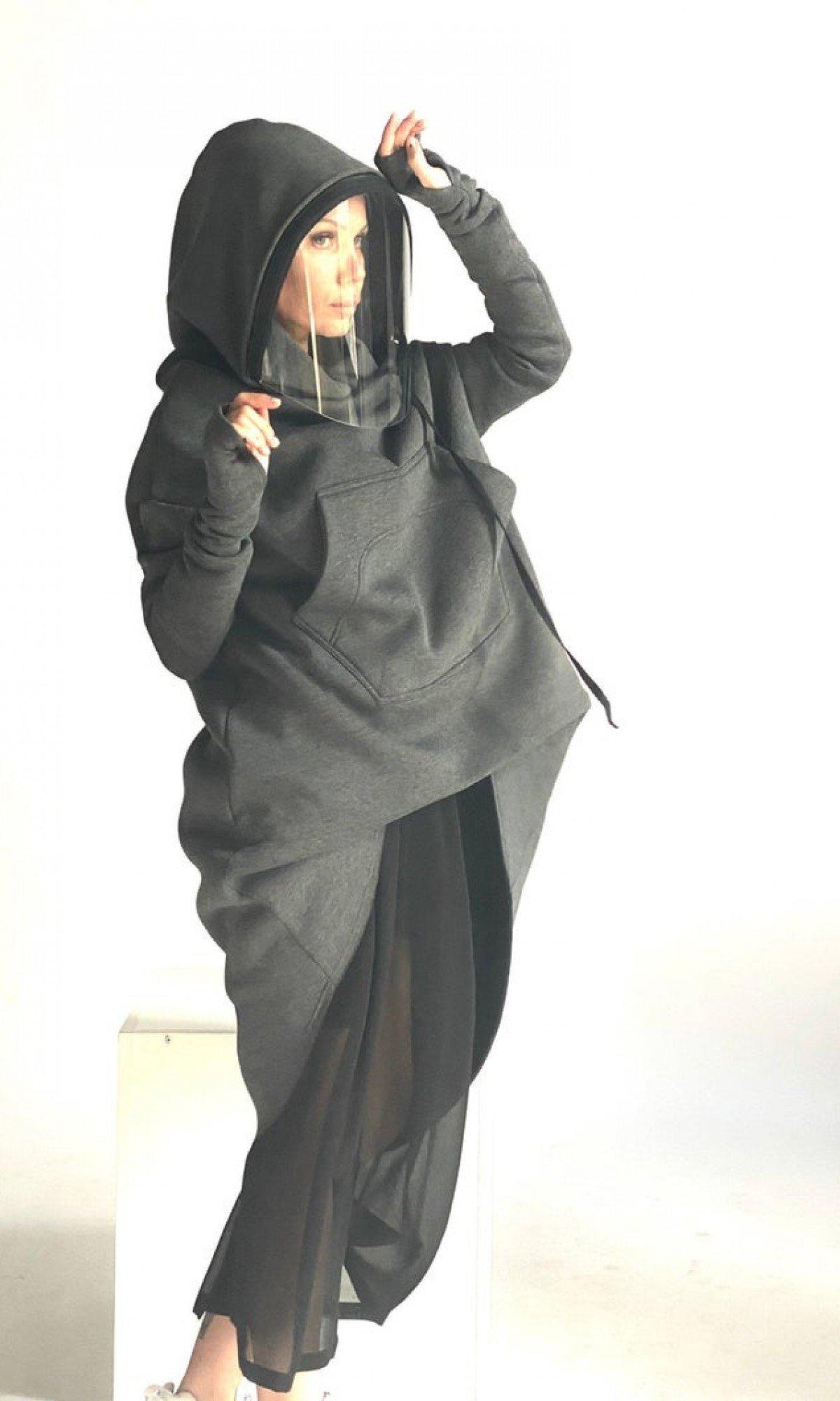 Navy Shield Hoodie Extravarant Maxi Asymmetric Hoodie / Fleece Cotton Warm full face covering Top / zip or unzip it / handmade by Aaksha