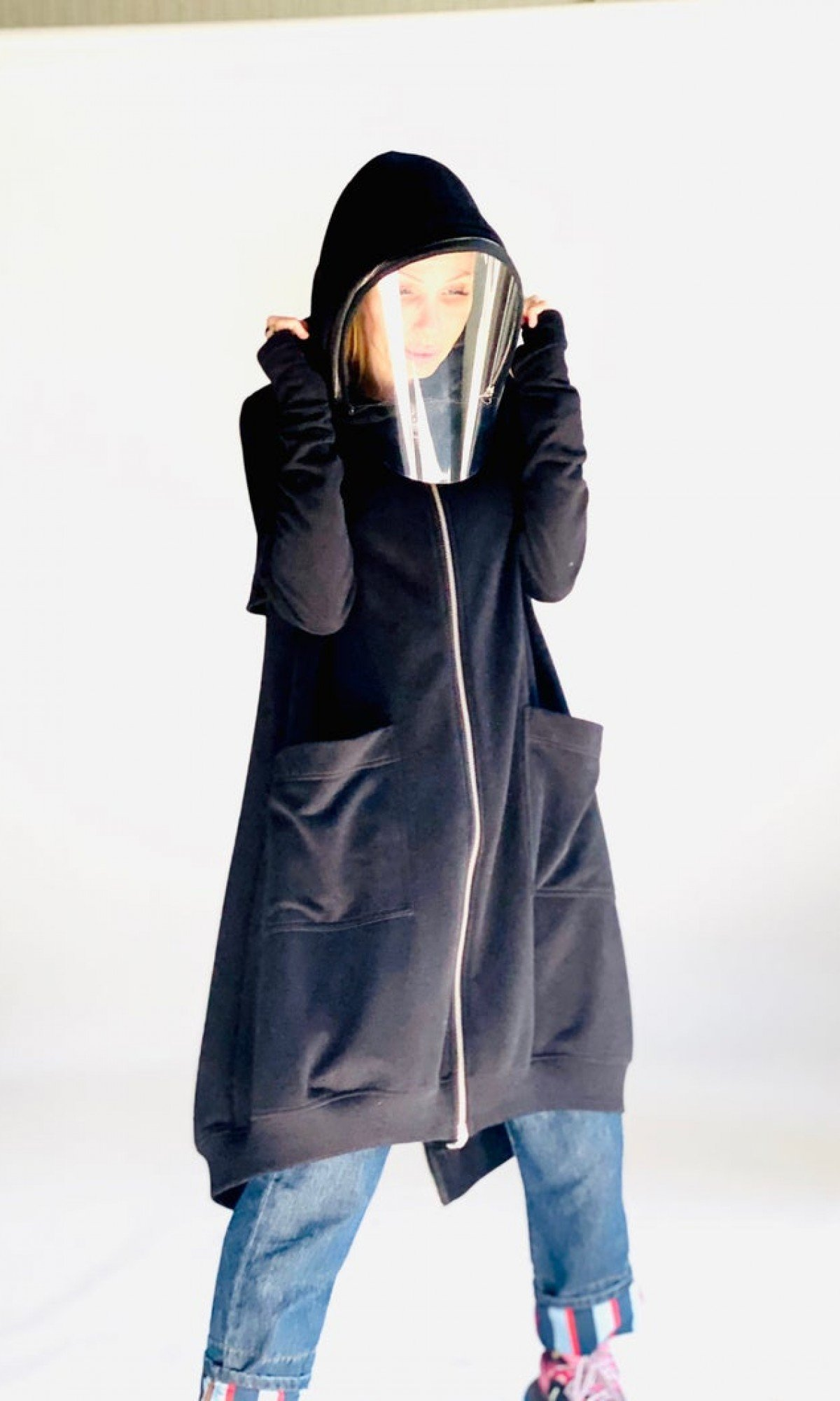 Shield Maxi Asymmetric Hoodie / Terry Cotton Zipper full face covering Top / zip or unzip it with 2 extra shields