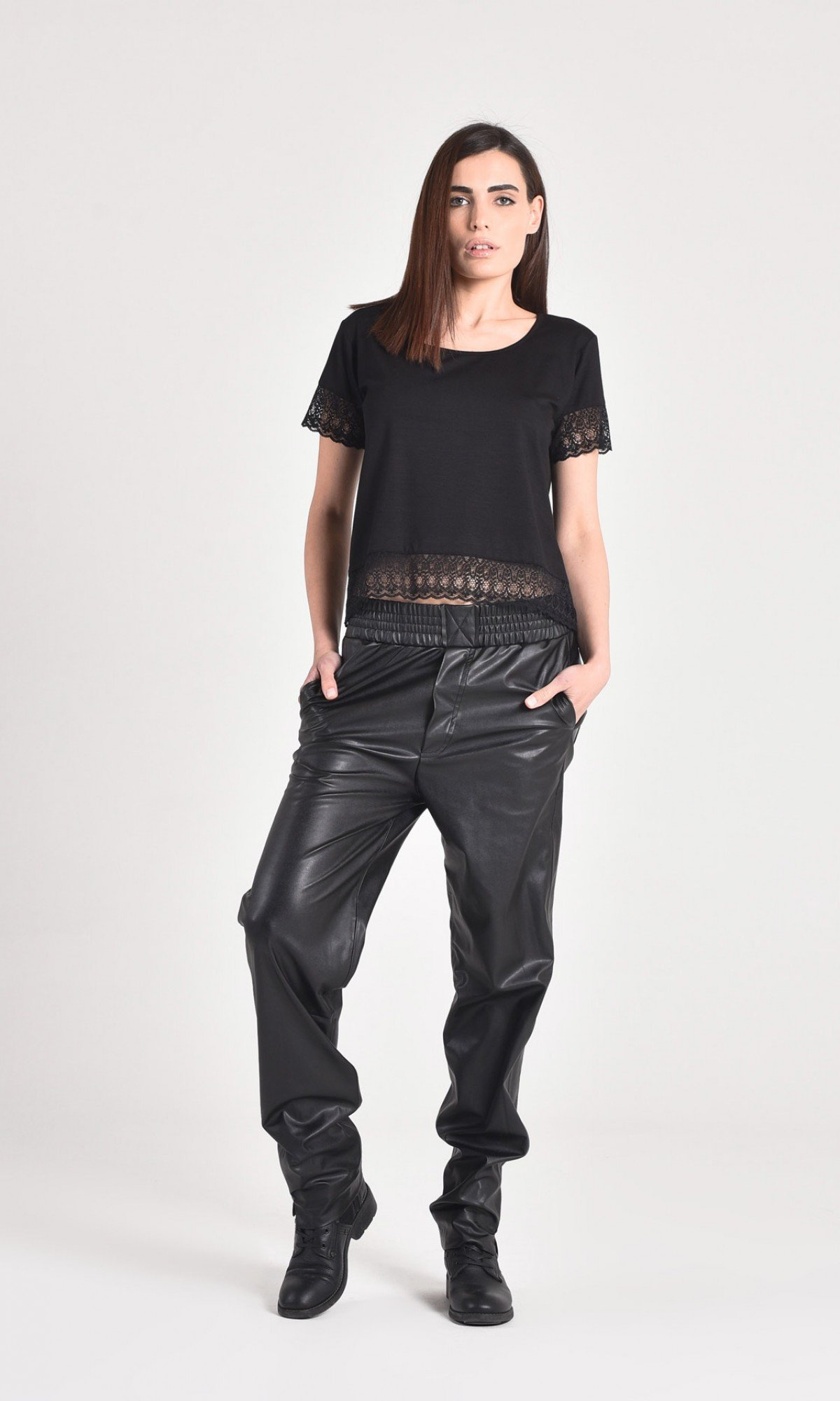 Loose Blacк Faux Leather Black Pants A05265