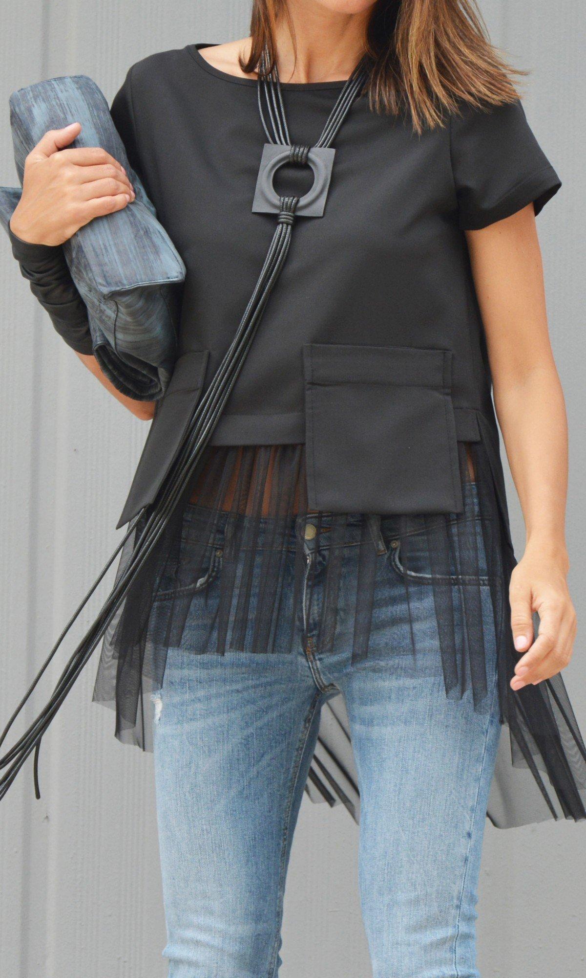 Short sleeve elegant tulle blouse A90498