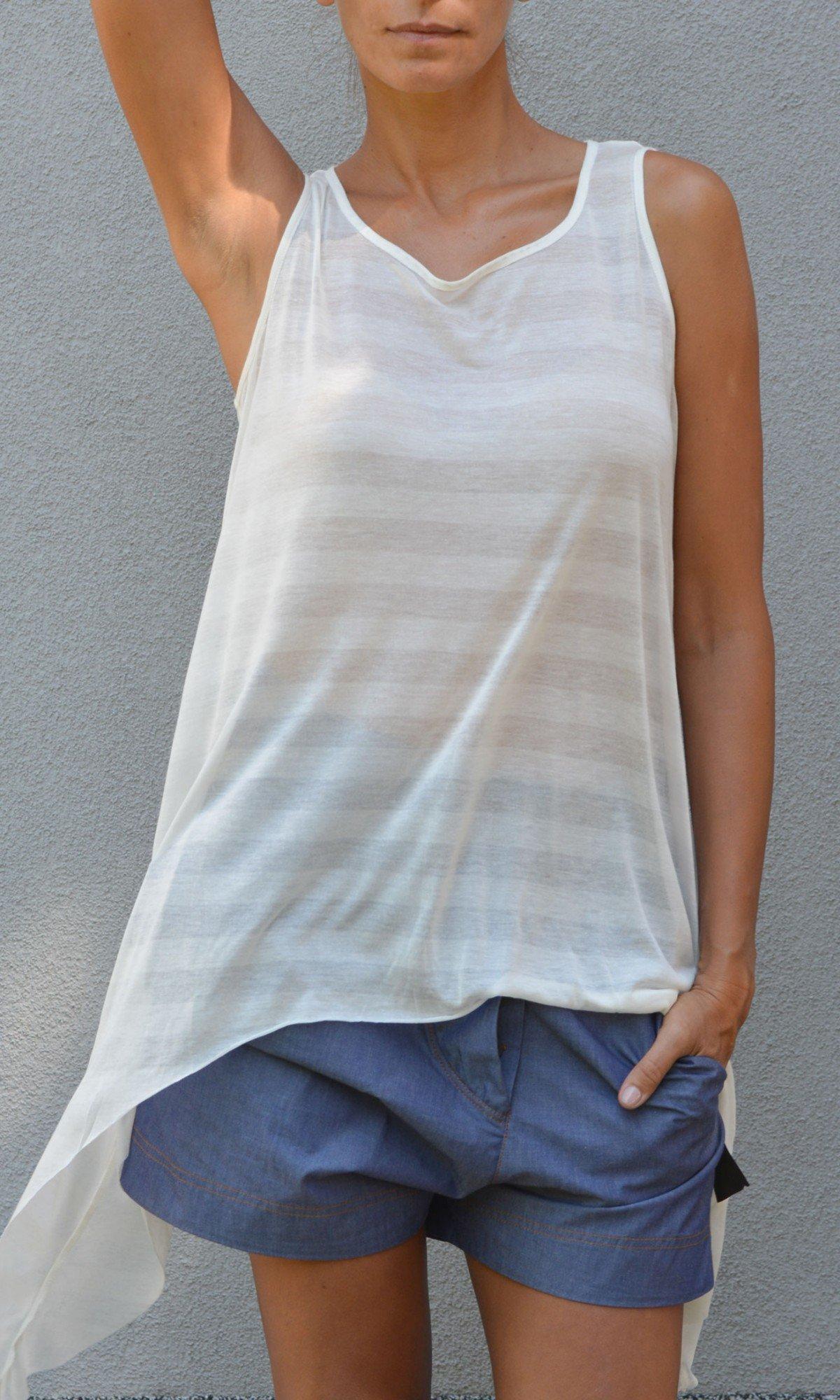 Sexy asymmetric cotton top A04211