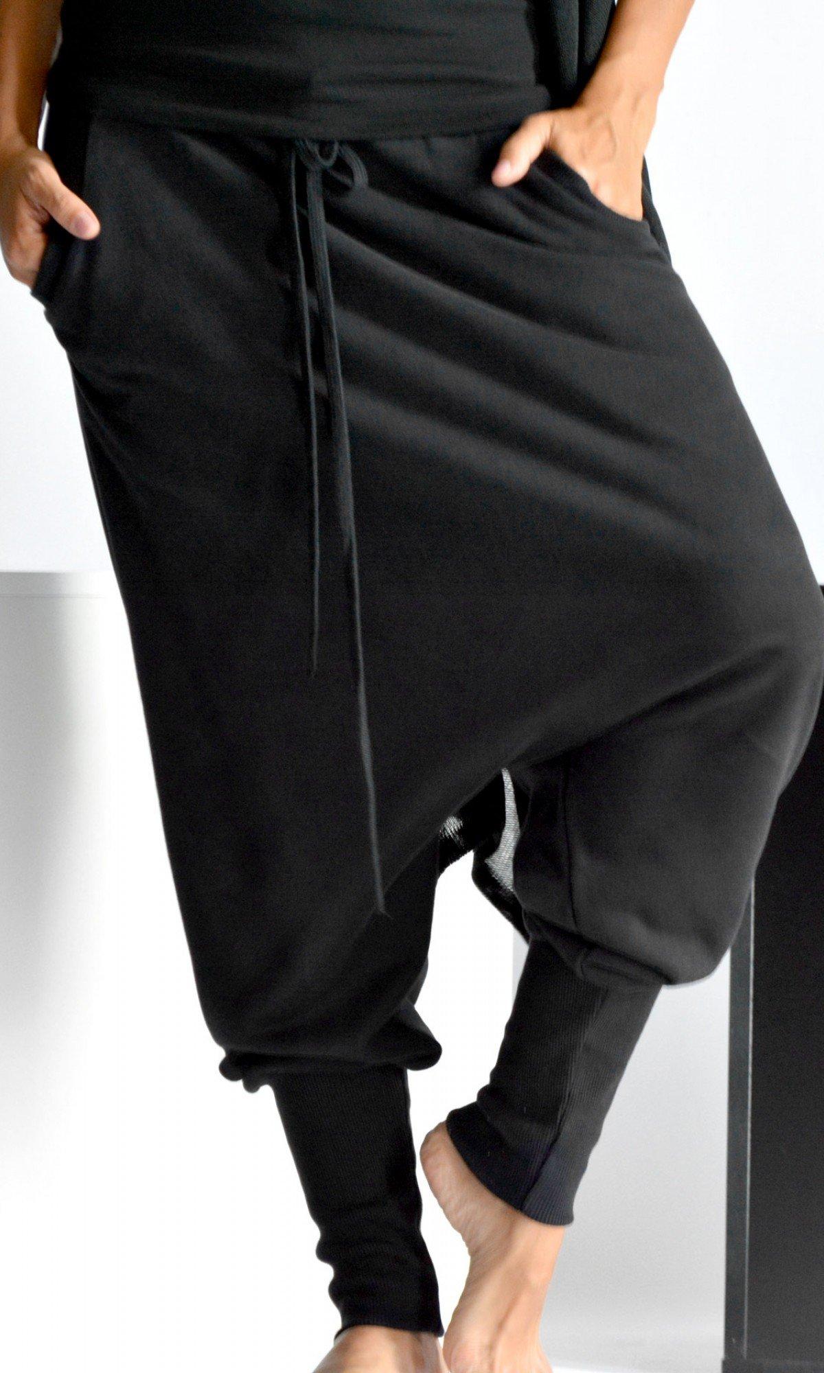Sporty Drop Crotch Cotton Pants