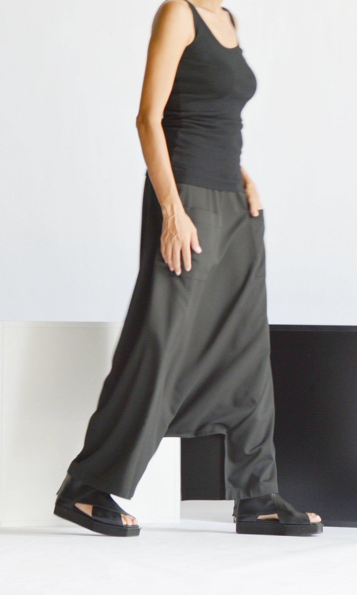 Elegant Deep Drop Crotch Pants A05826