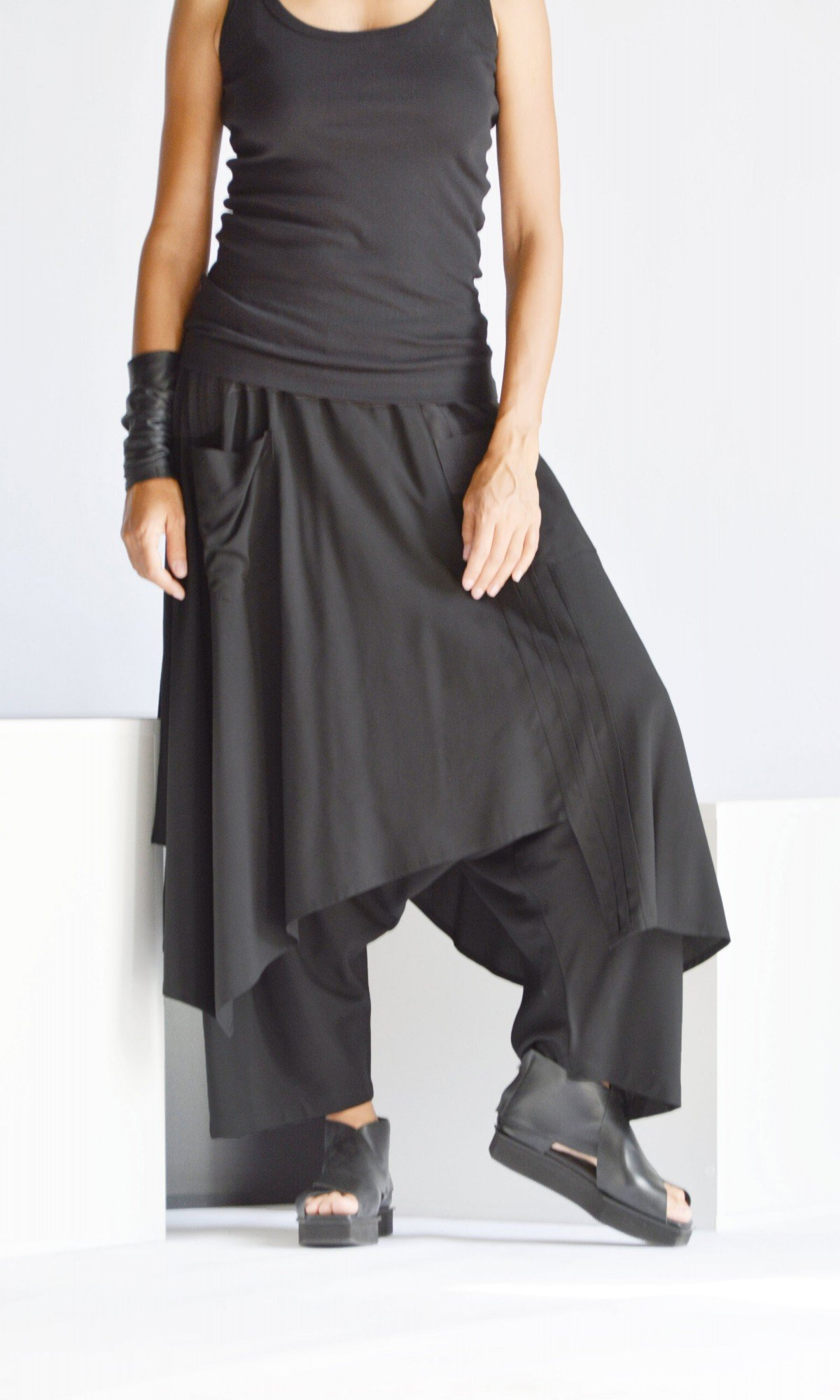 Elegant Draped Skirt Pants A90508