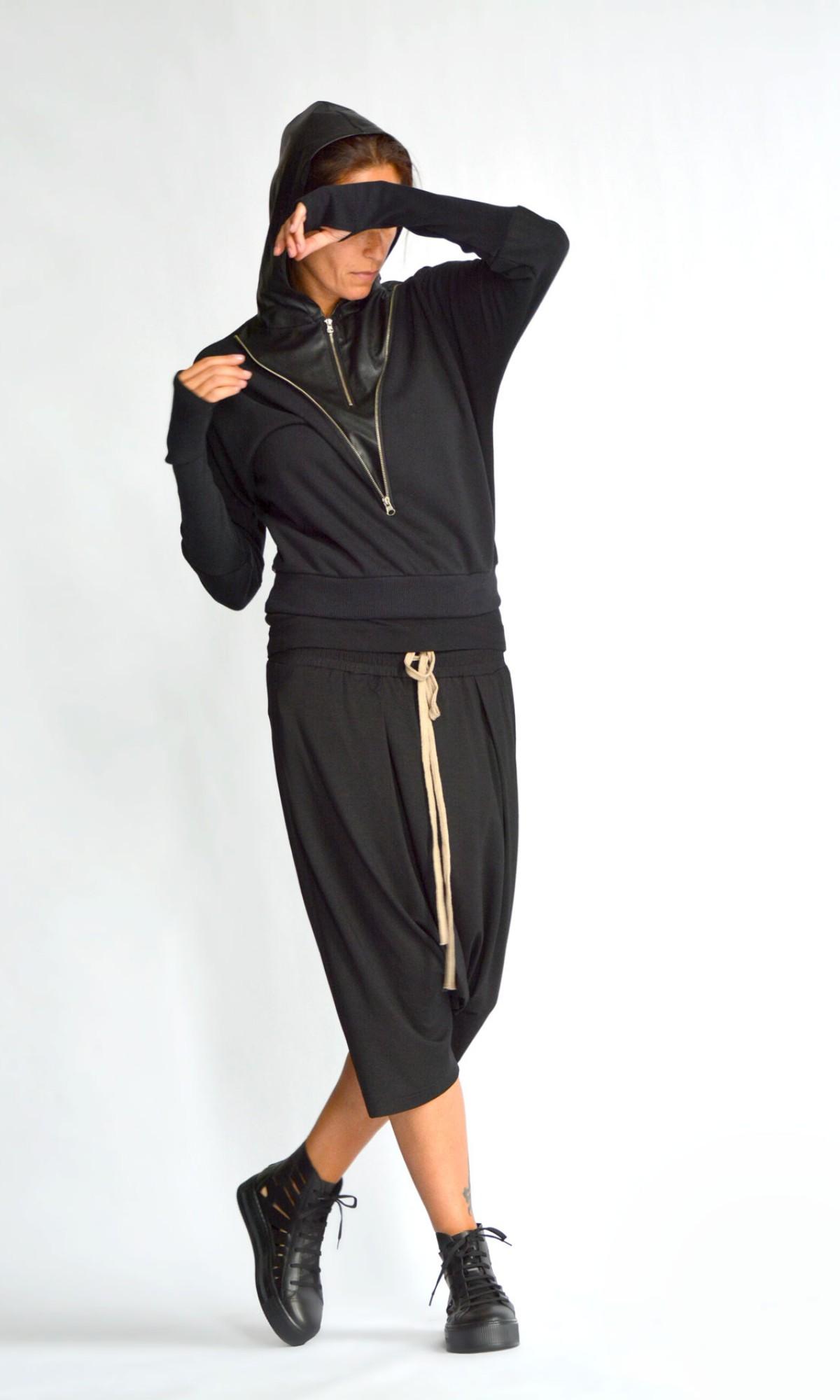 Short Extravagant double zipper Hoodie A90519