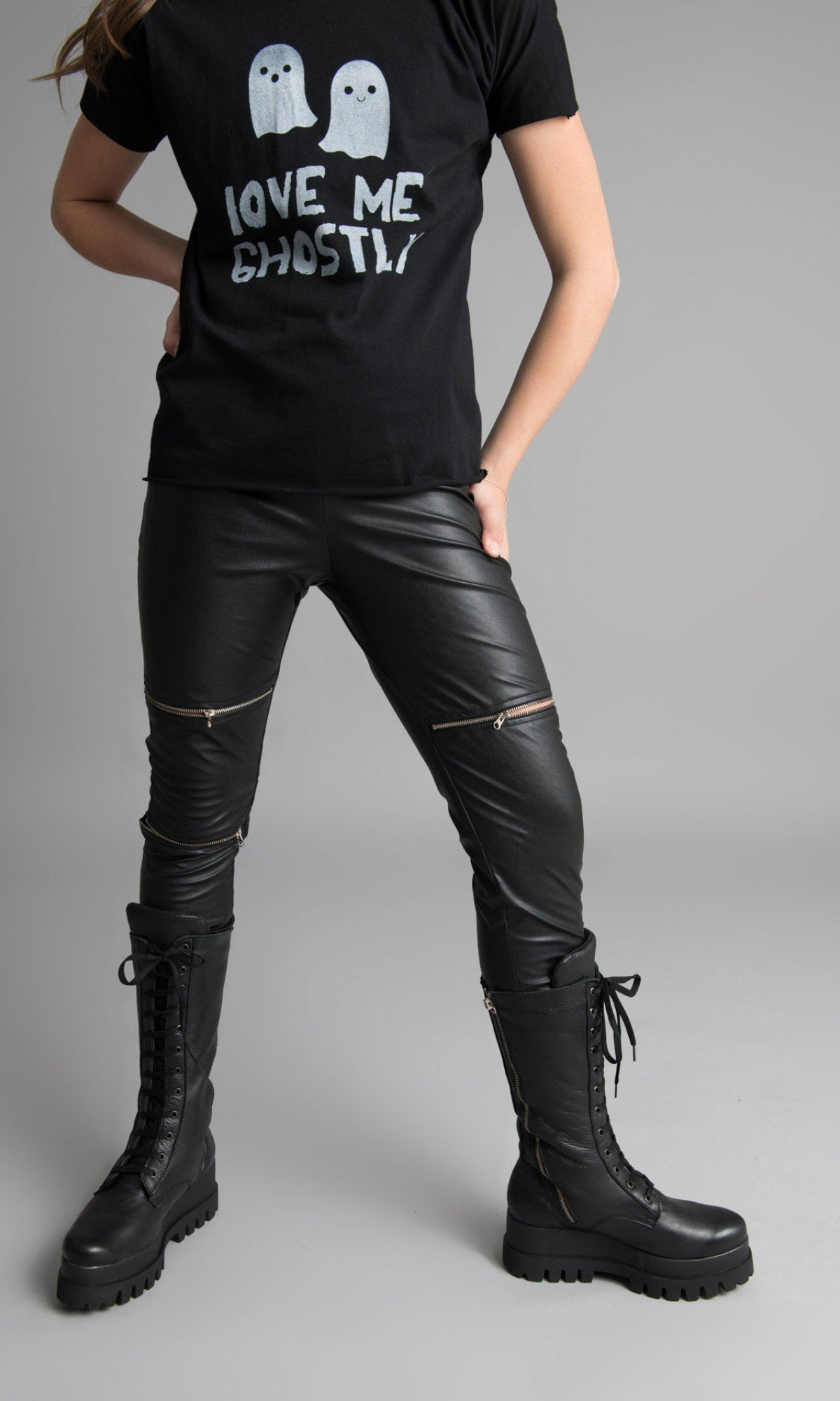Black Faux Leather Zipper Leggings A05307C