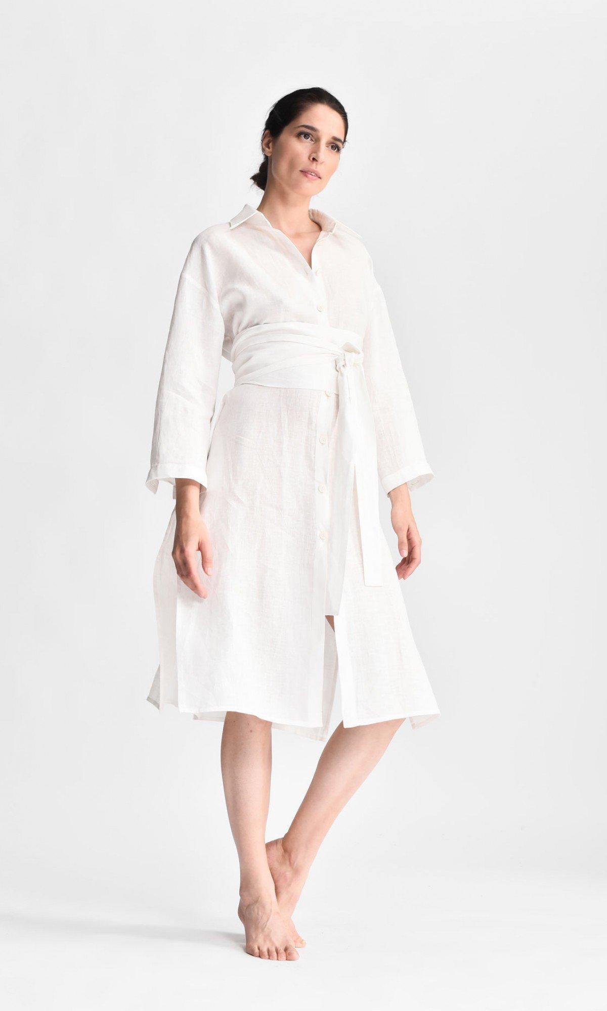 Elegant Linen Kimono Shirt Dress A90479