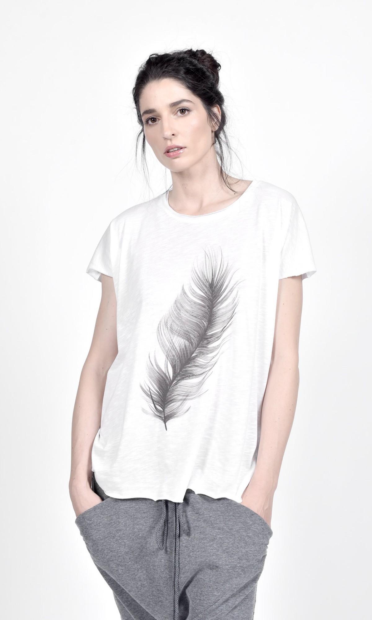 White Cotton Feather Print Tee A90490