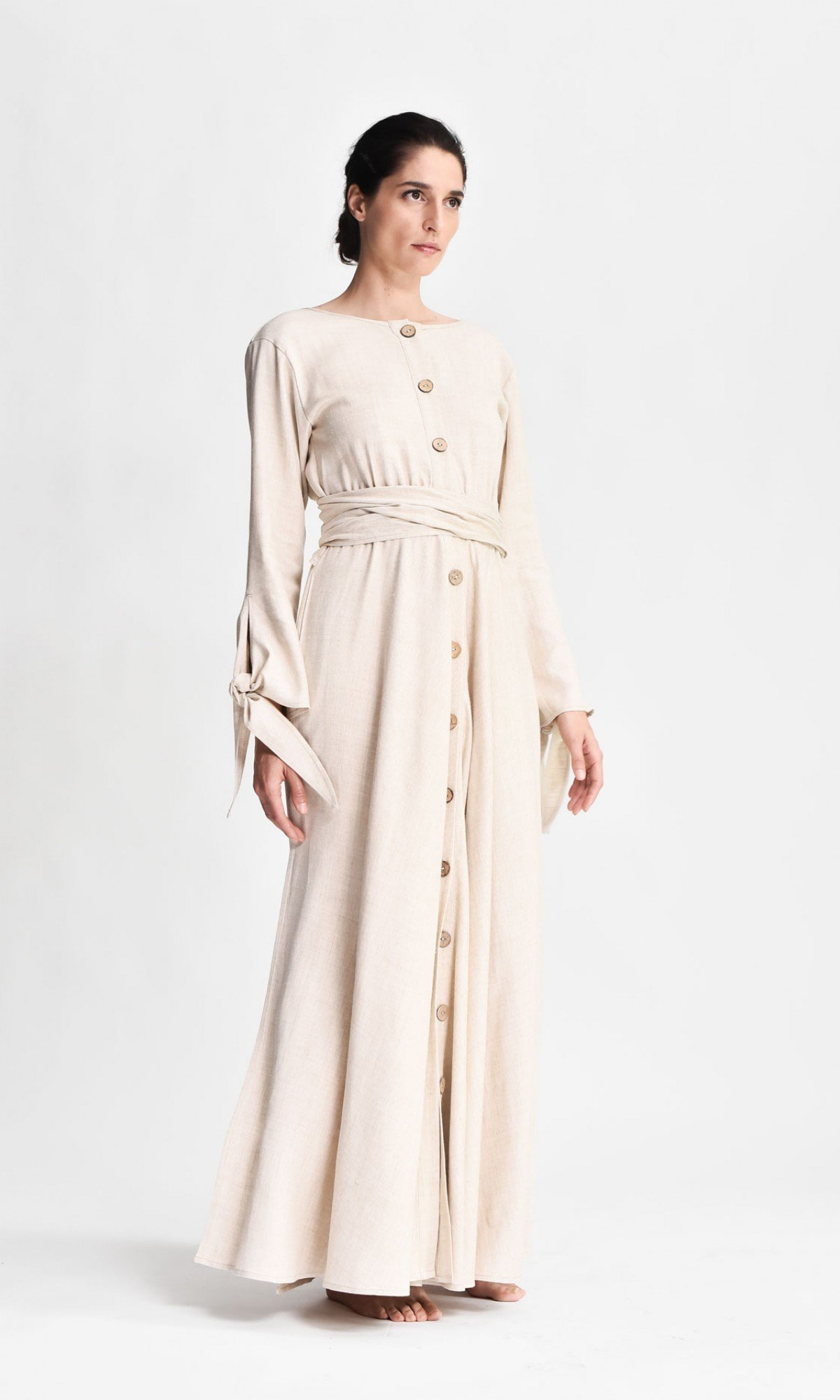 Maxi linen dress with belt A90489