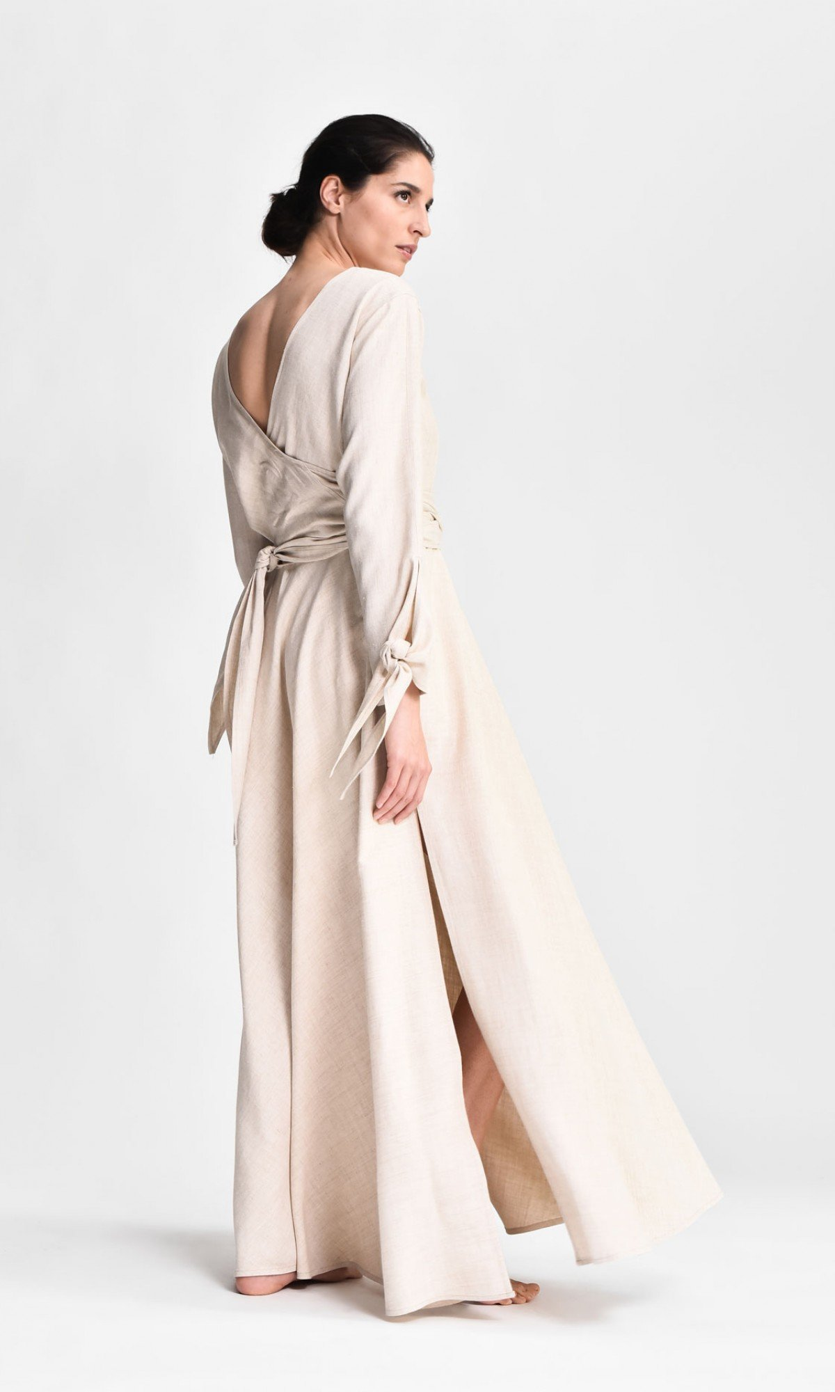 Long Linen Shirt Dress with Belt