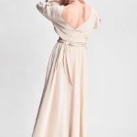 Maxi linen dress with belt A90489