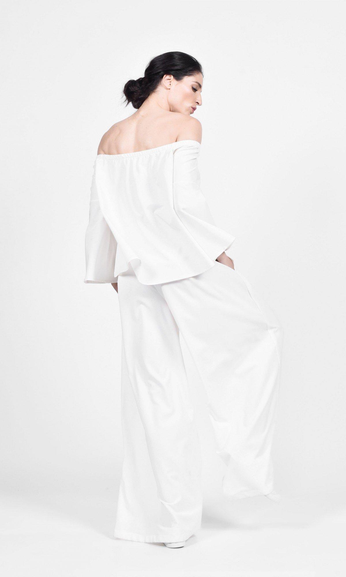 Off Shoulder Top & Skirt Pants Set