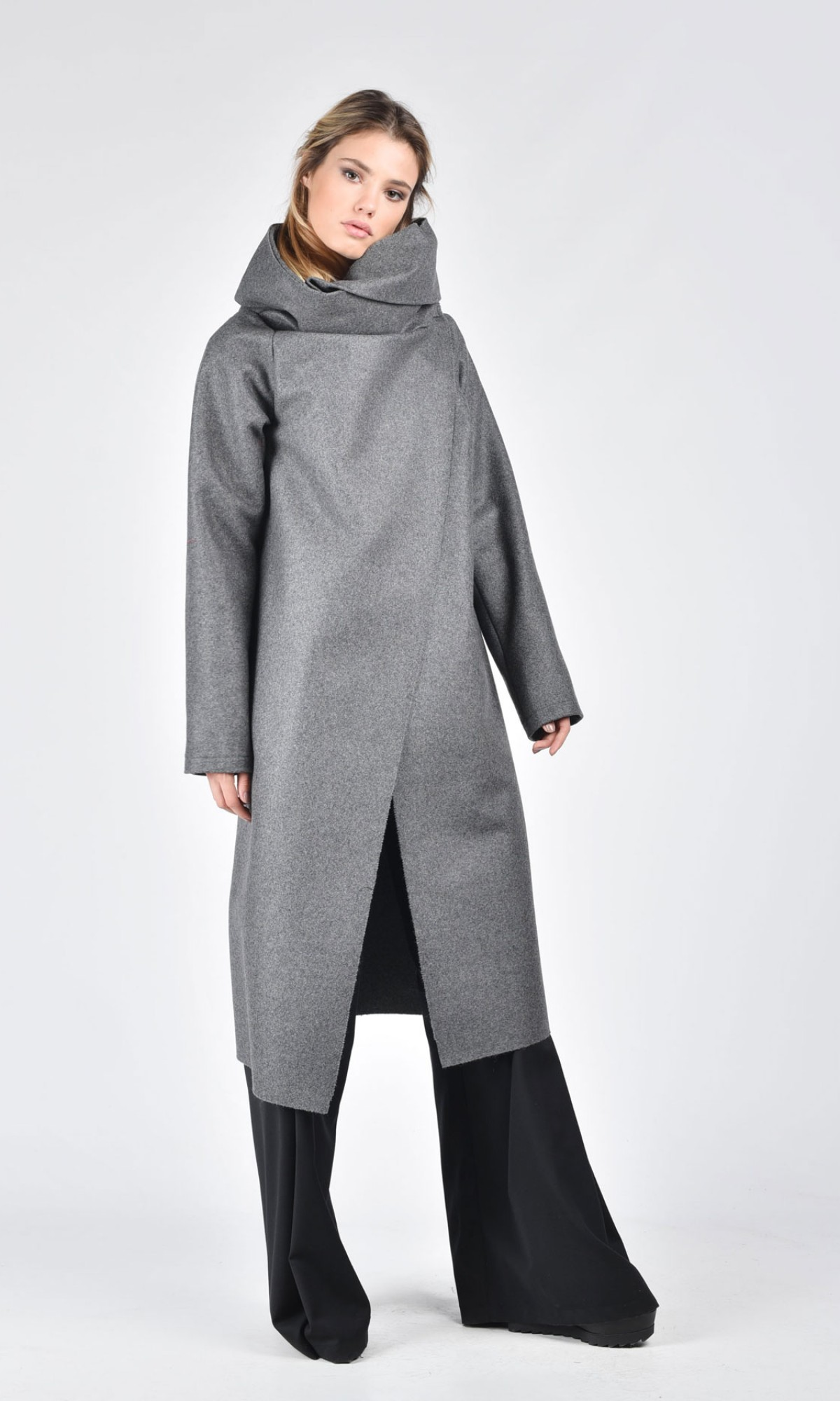 Dark Grey Kasha Coat with  Long Sleeves A07099