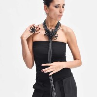 Leather Flower Minimal Necklace A90603