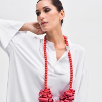 Fuchsia Genuine Leather Long  Necklace with Beads A16528