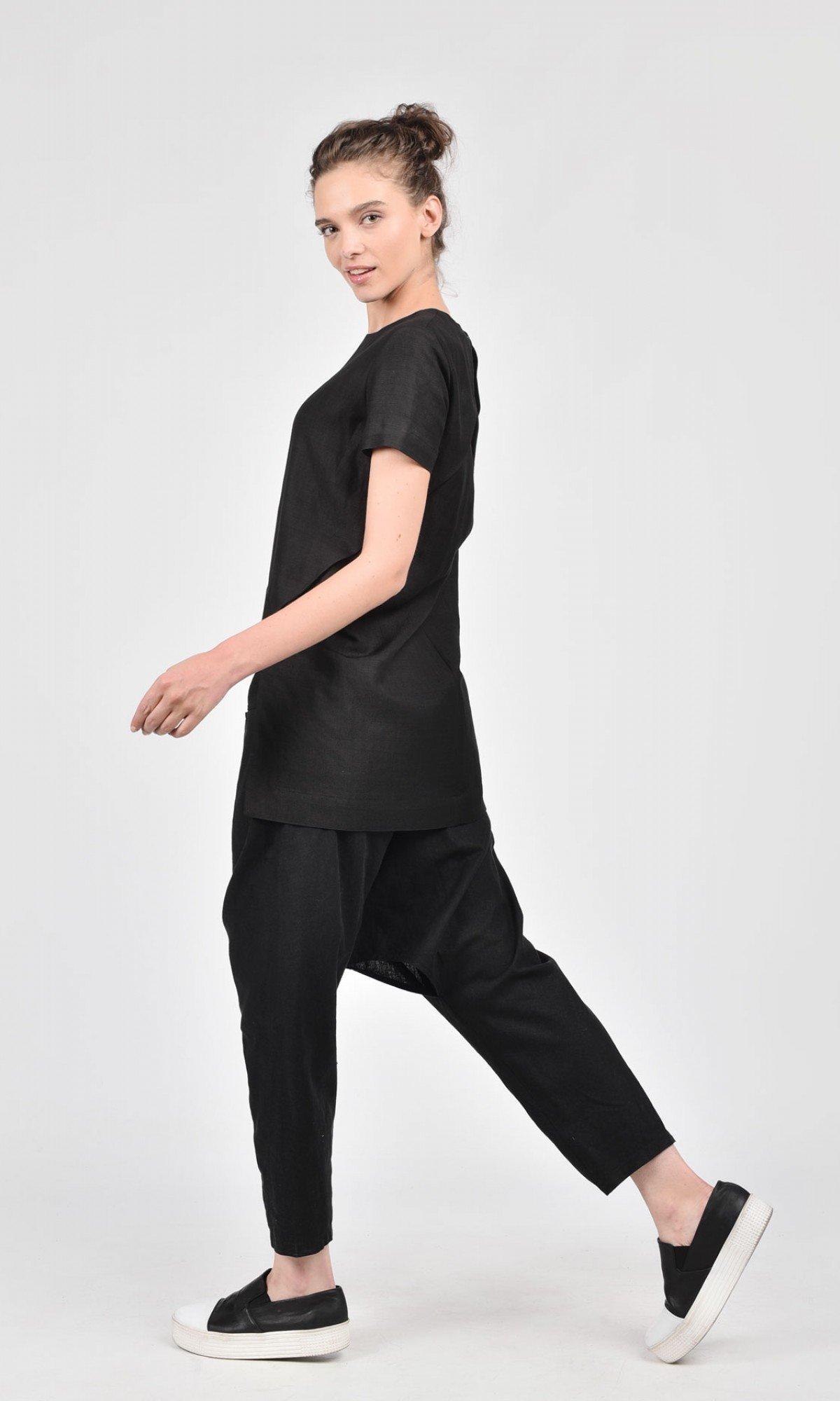 Linen Drop Crotch Pants with Slit