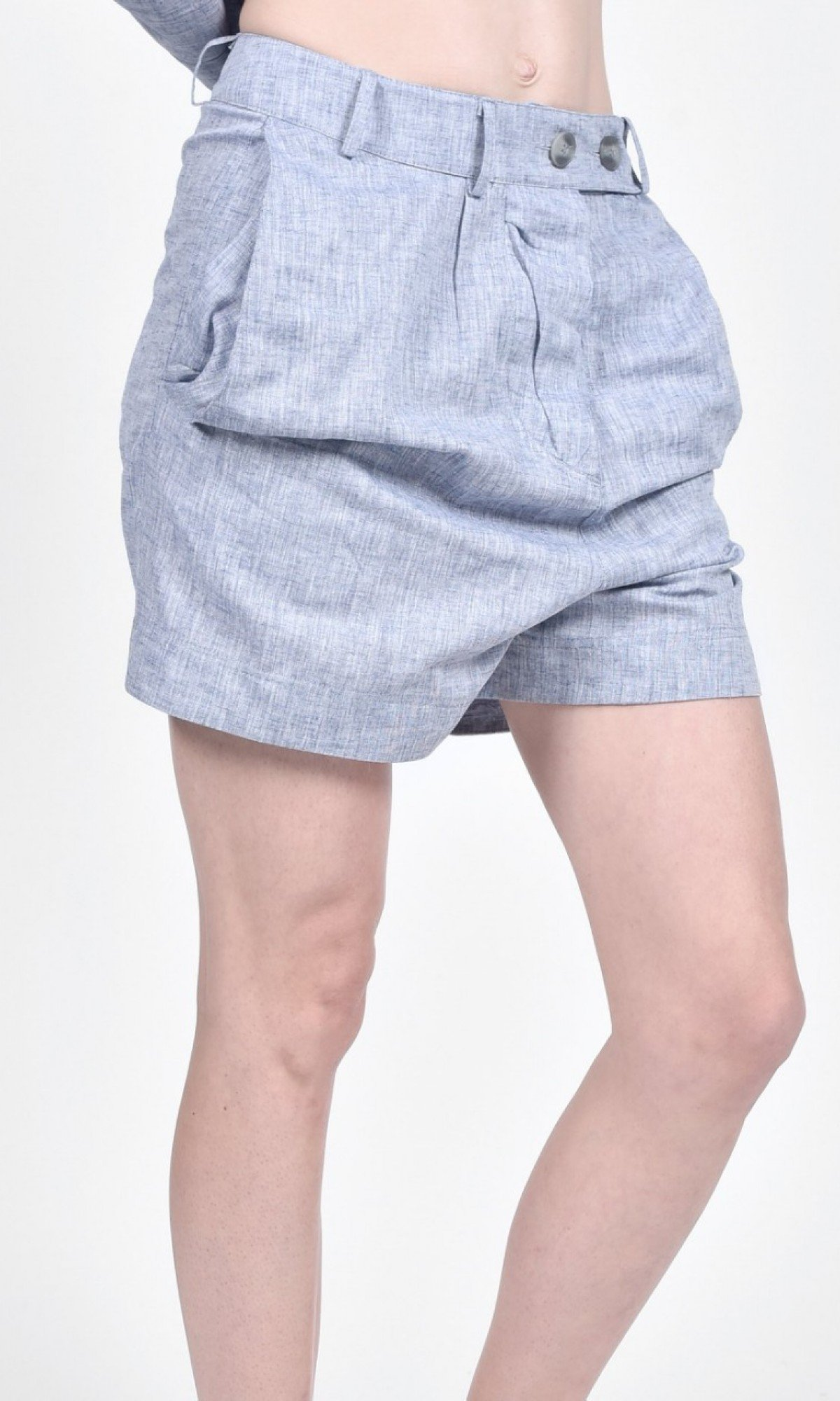 Linen Drop Crotch Shorts A90494