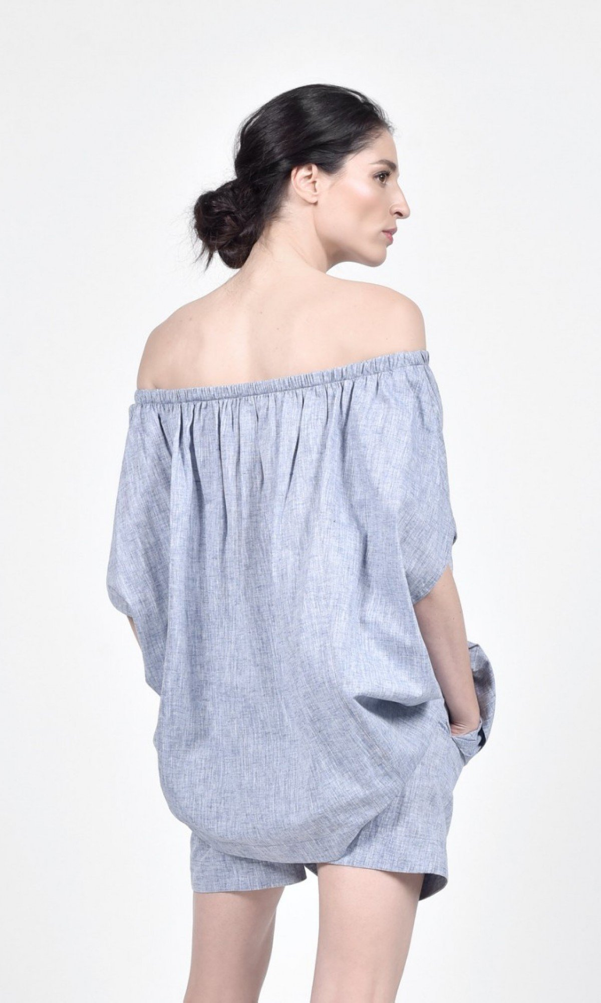 Naked Shoulders Linen Blouse A90493