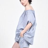 Naked Shoulders Linen Blouse A90493