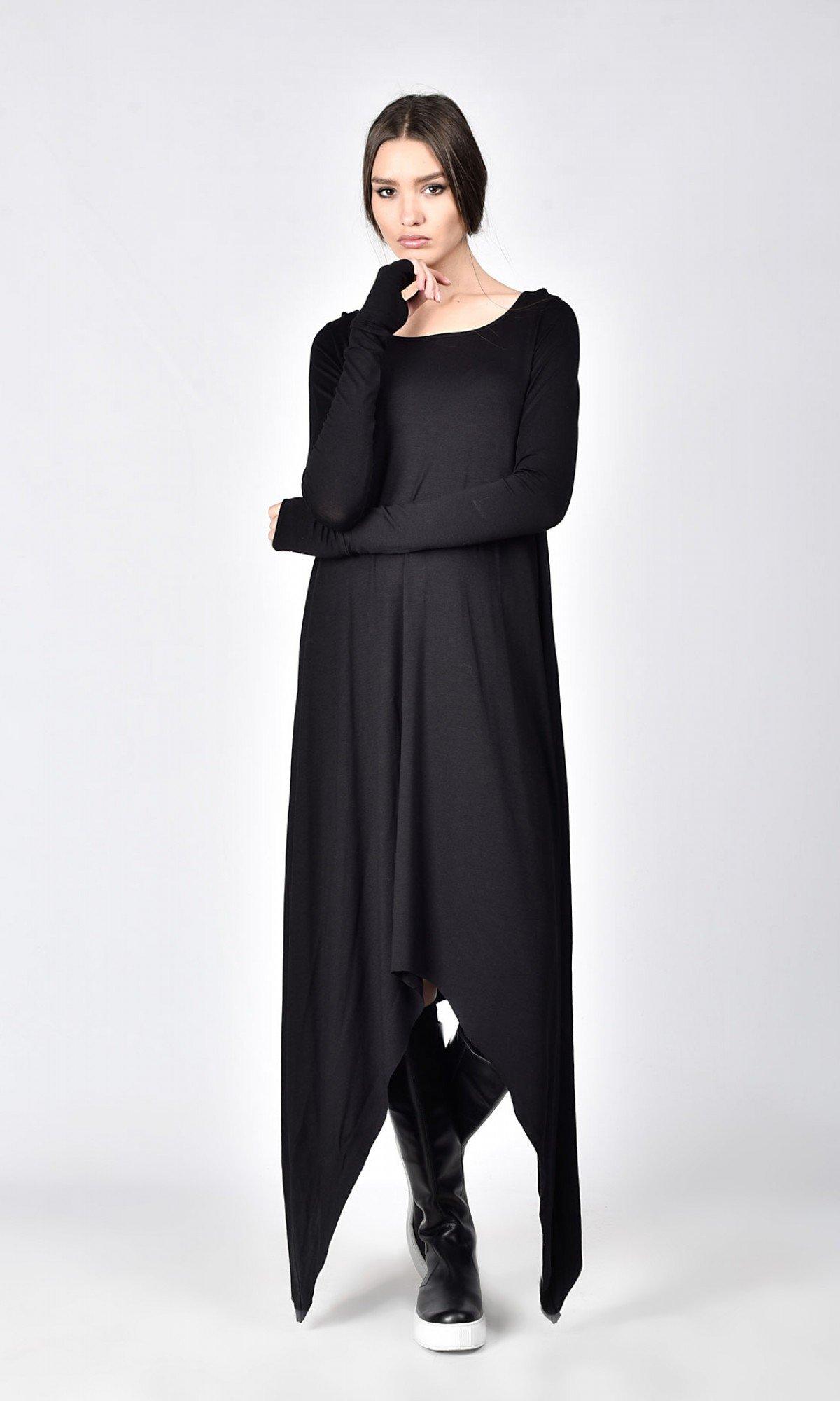 Black Loose Tunic Dress A03535