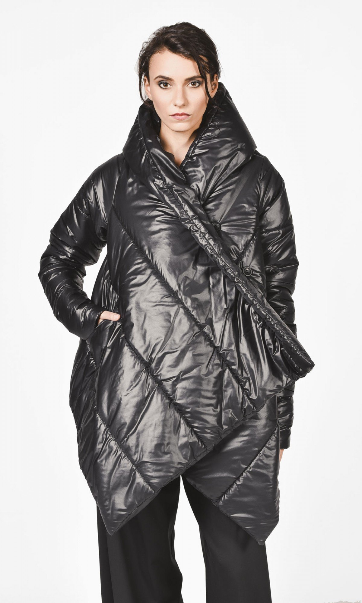 Extra Warm Asymmetric Hooded Coat A07550