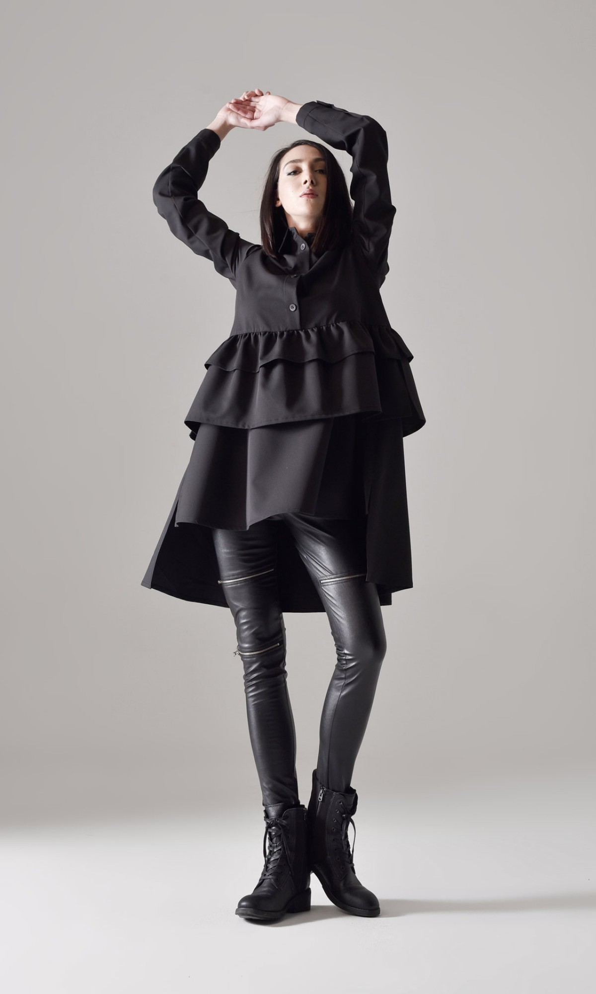 Long sleeve frill hem shirt dress A90444