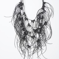 Extravagant Black Leather Macramé Necklace A16190