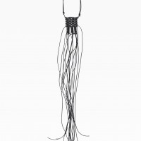 Black Leather Macramé Necklace