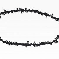 Extra Long Black Genuine Leather Necklace A16254