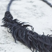 Sales - Black Bead and Genuine Leather Pieces Necklace A16309