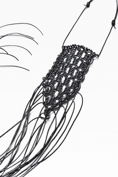 Extravagant Extra-Long Black Leather Macramé Necklace