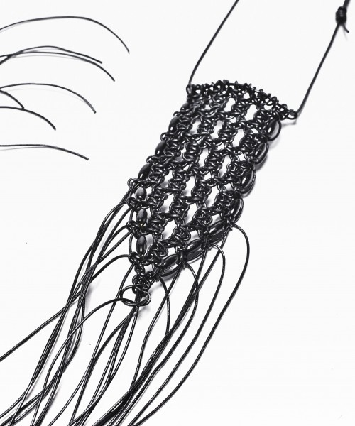 Extravagant Extra-Long Black Leather Macramé Necklace A16315