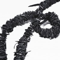 Extravagant Long Black Genuine Leather Necklace