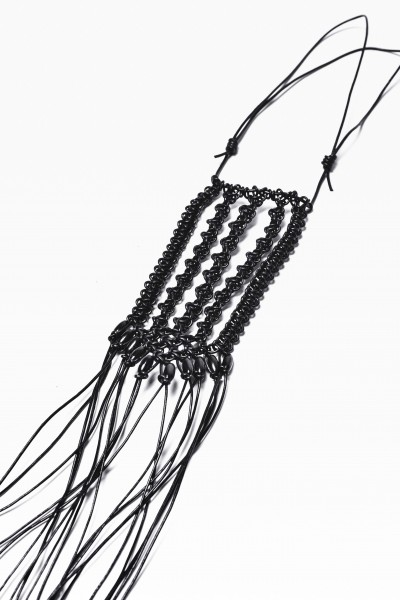 Extravagant Extra Long Black Leather Macramé Necklace with Wooden Beads  A16356