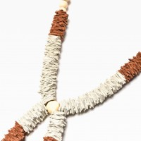 Extravagant Black and Brown Genuine Leather Extra Long Necklace with Beads A16536