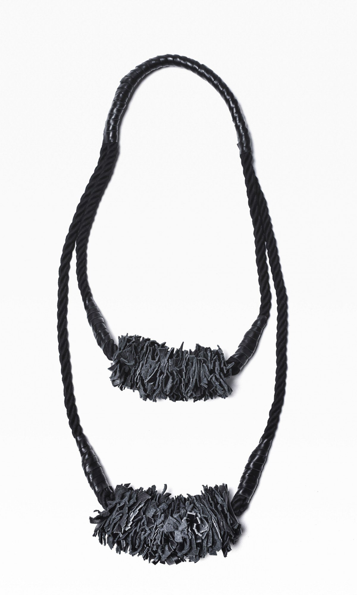 Black Rope and Genuine Leather Necklace A16376