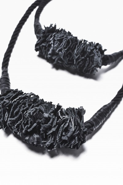 Extravagant Black Rope and Genuine Leather Necklace A16376