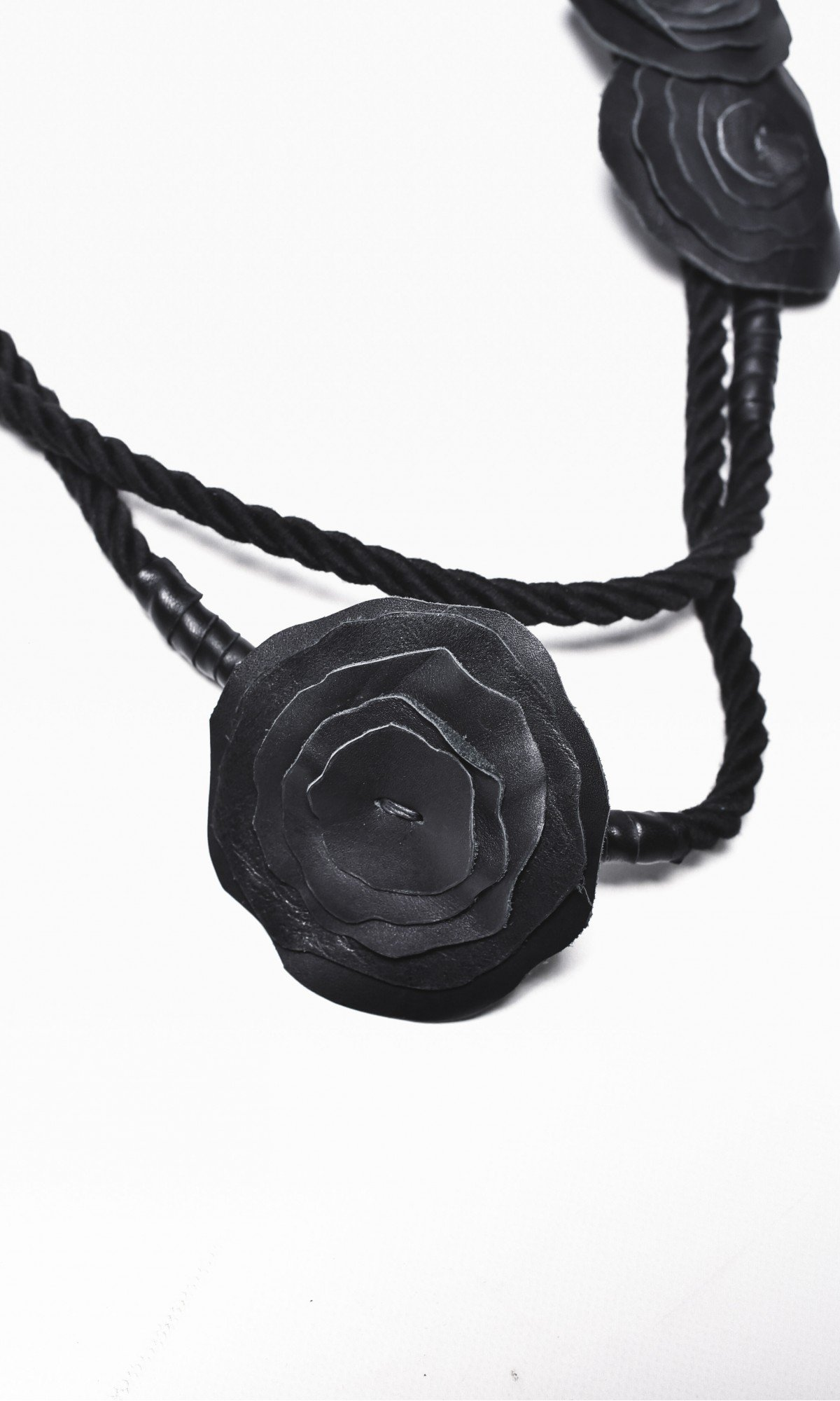 Black Rope and Genuine Leather Roses Necklace A16386