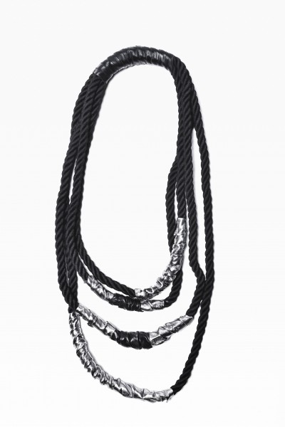 Extravagant Black Rope and Genuine Silver Leather Necklace