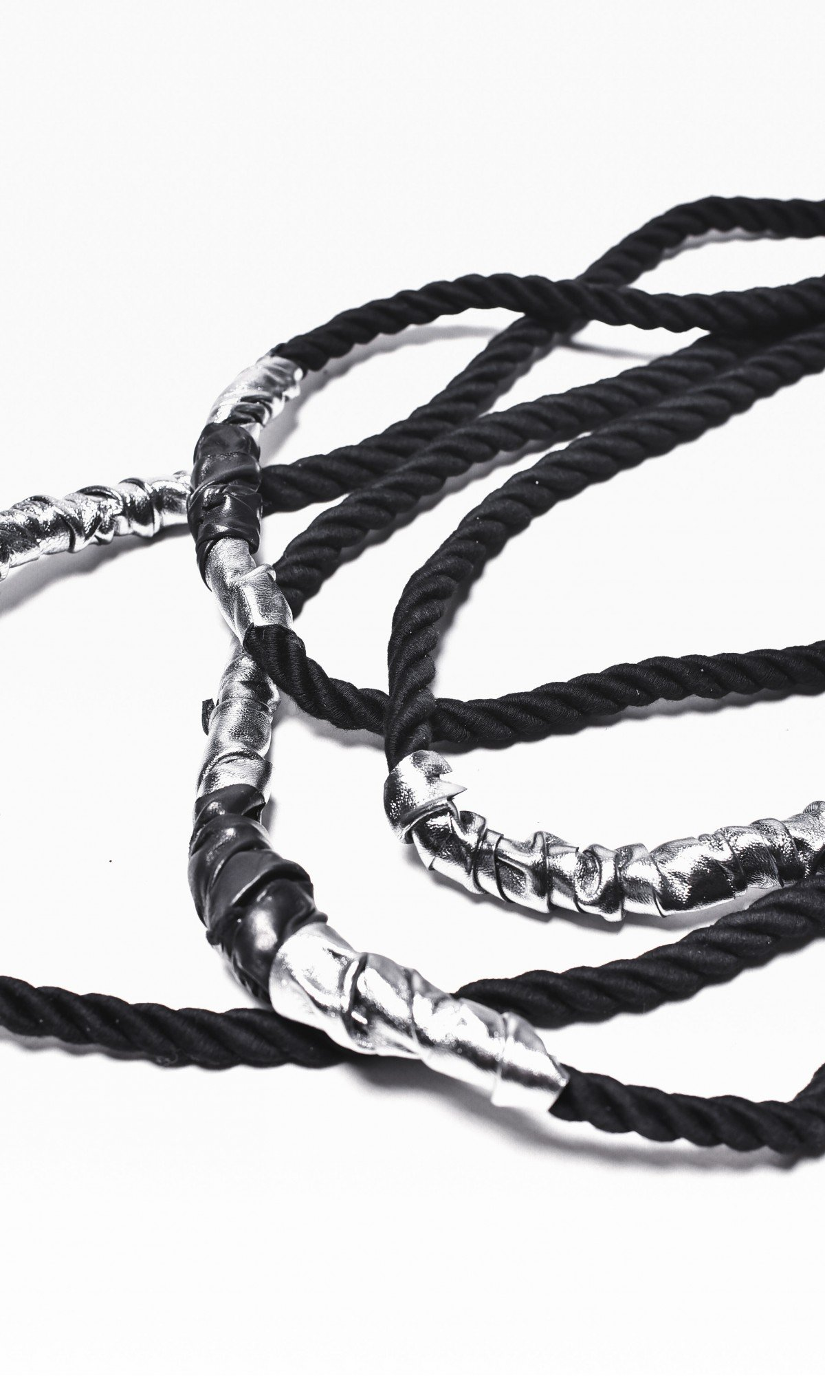 Extravagant Black Rope and Genuine Silver Leather Necklace A16476