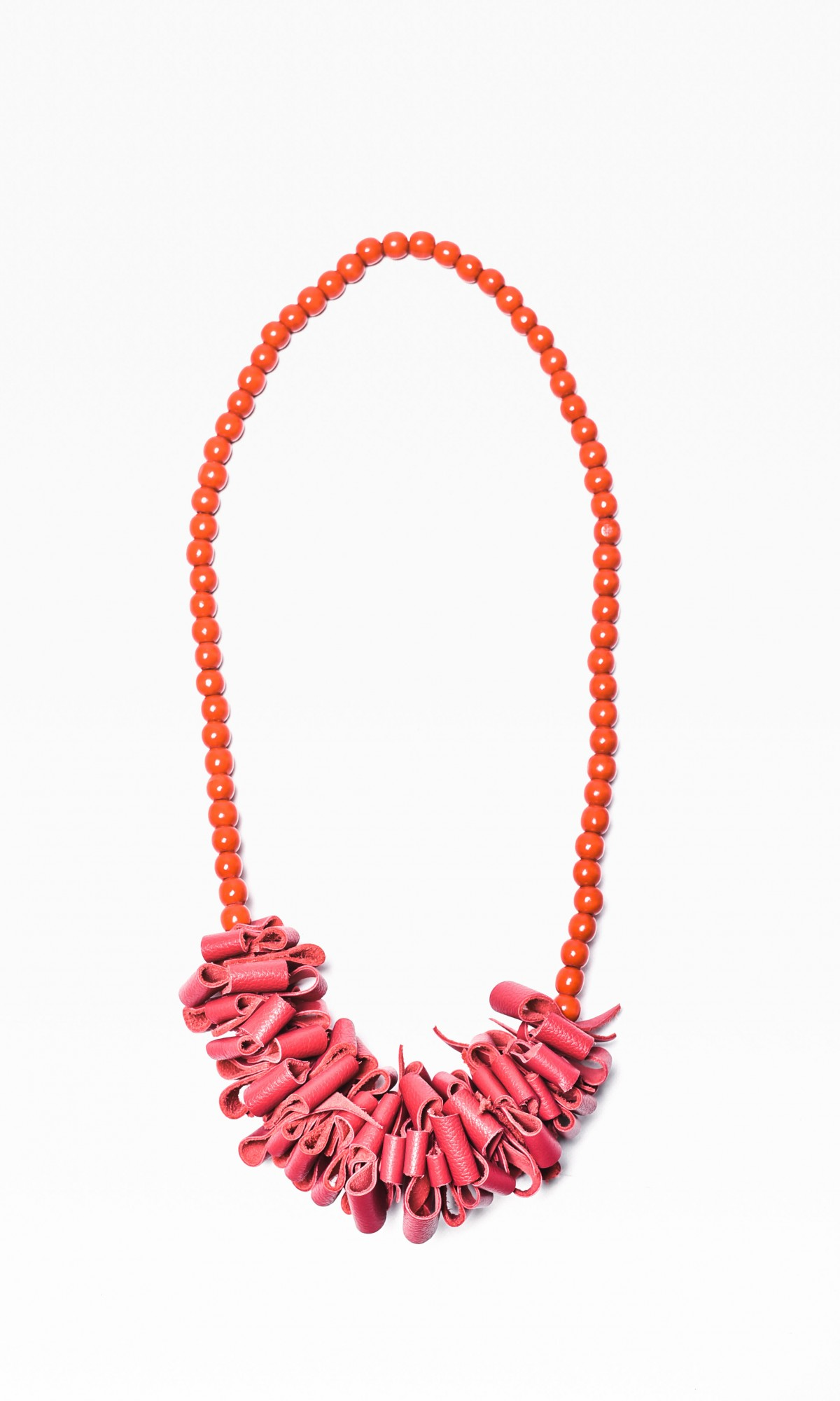 Fuchsia Genuine Leather Long  Necklace with Beads
