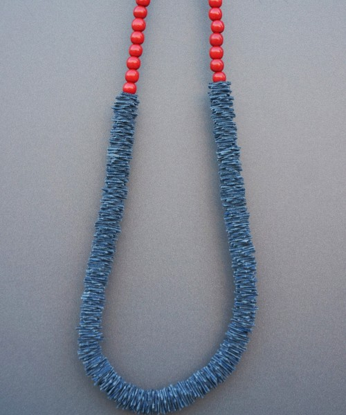 Extravagant Navy & Red Genuine Leather Bead Necklace A16534