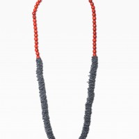 Extravagant Navy & Red Genuine Leather Bead Necklace