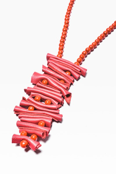 Red Genuine Leather Art Necklace A90016