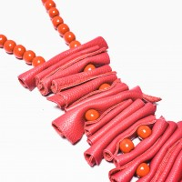 Red Genuine Leather Art Necklace A16591