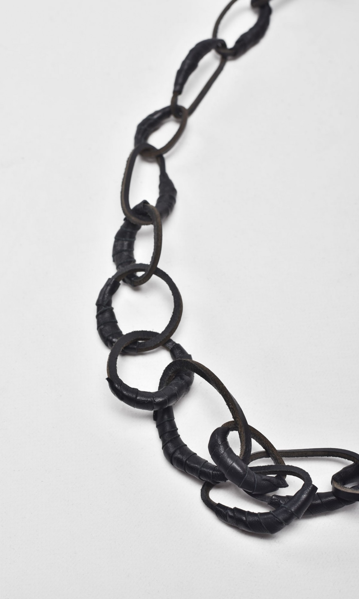 Bold Leather Chain Necklace A16664