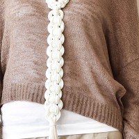 Extravagant White Leather Knitted Necklace A90131