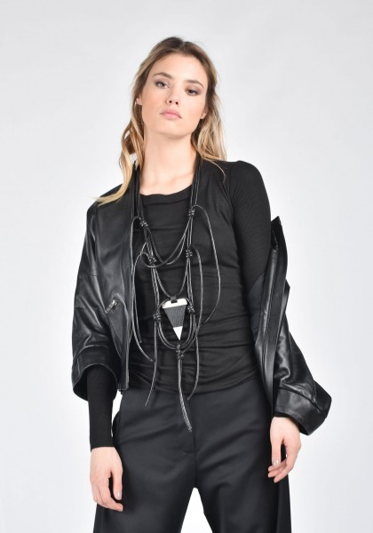 Leather necklace with metal details A90132