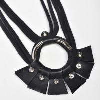 Fan Shaped Leather Necklace A90179