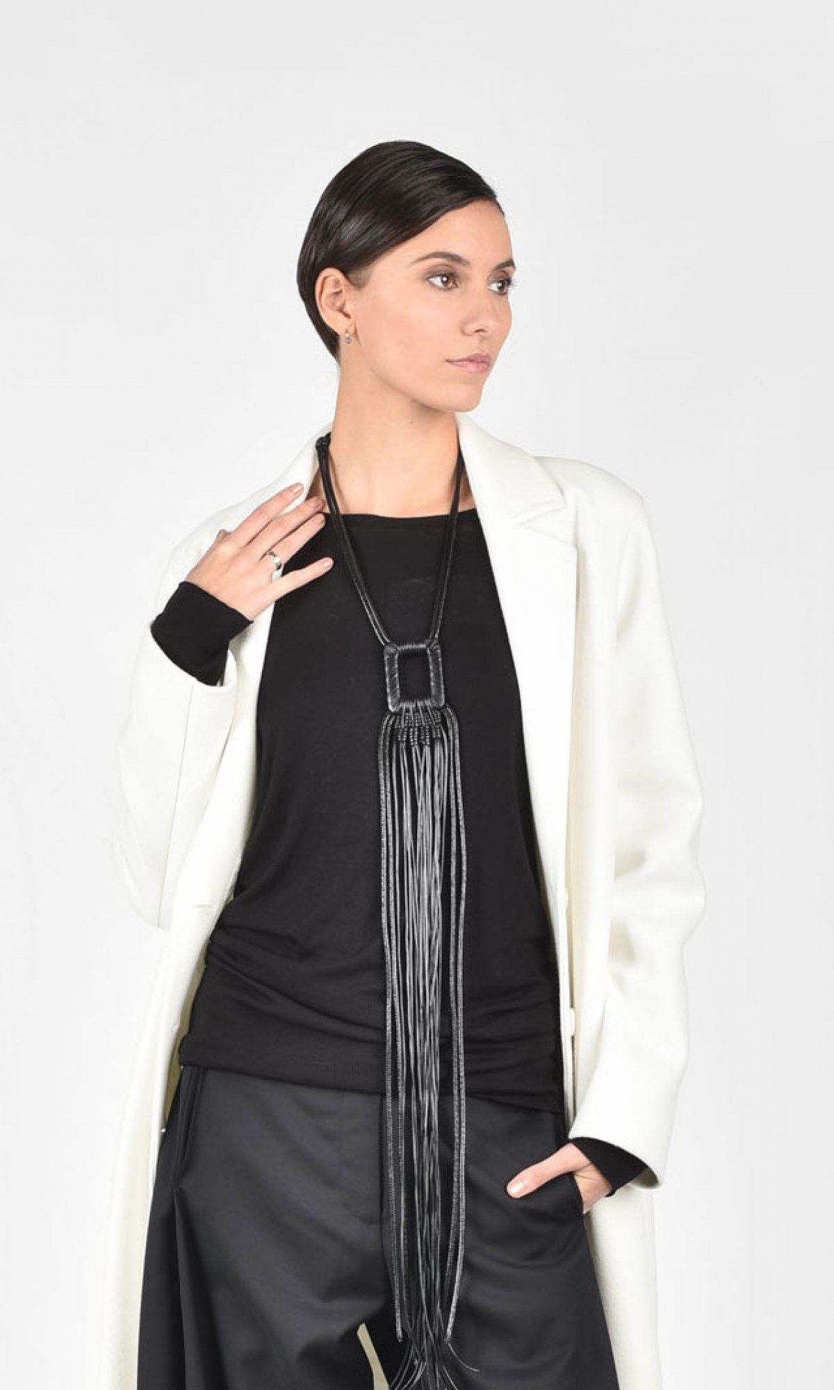 Extra Long Leather Buckle Necklace A90192